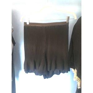 DELFI Collective Pleated Black Shorts Ruffle
